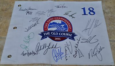 The Open 2015 St Andrews Multi Signed Golf Flag Open Champions Rory ,Zach ,Tom +