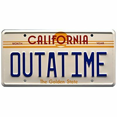 Back Frames To The Future Delorean OUTATIME *Metal Stamped* Vanity Prop License