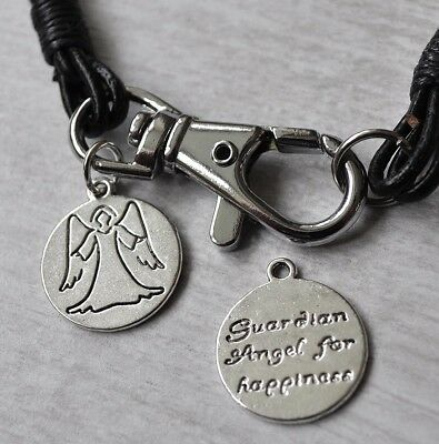 Real Leather Wristband Bracelet & Guardian Angel Charm Ladies Gift Double Sided