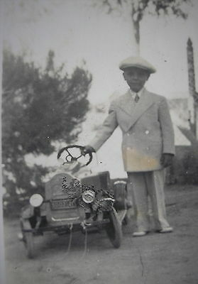 1920´s BOY DRESSED w/ BEIGE SUIT & CAP & PEDAL CAR AT HIS SIDE NICE REAL PHOTO
