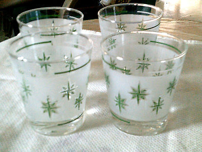 4 Dominion tumbler/whisky glass-starburst Mod-atomic style green/frosted white