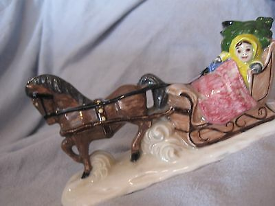 """vintage 7"""" porcelain sleigh by """"Hughes"""" dated 1985"""