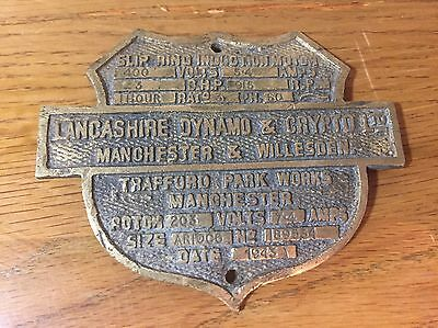 Lancashire Dynamo & Crypto Ltd Manchester & Willesden Plaque/ Sign: 1943