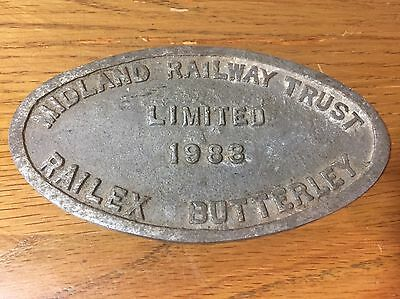 Midland Railway Trust Ltd 1983 Railex Butterley Sign / Plaque: 13.5 x 7.5cm
