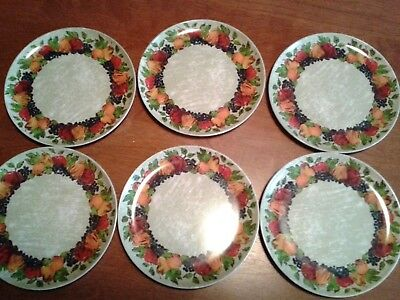 "Lot of 6pcs Melmac by Maplex dessert plates green/fruits 7""diam"
