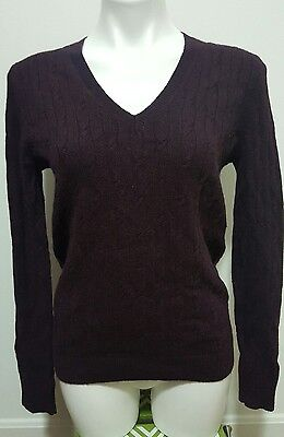 NWT $49.50 Ann Taylor LOFT Purple V-Neck Long Sleeve Cable Knit Sweater Size M