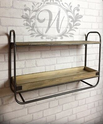 Retro Vintage Industrial Style Metal Shelf Storage Cabinet Wooden Unit Wall