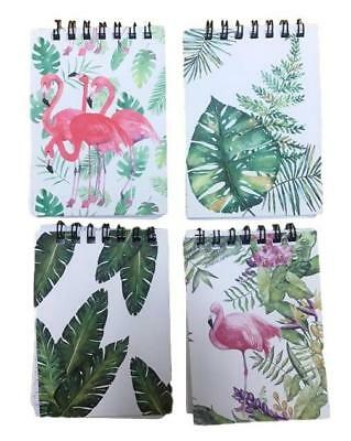 New 4x Tropical Paradise Hard Cover Paper Notepad 60 Sheets Flamingo Leaves A7