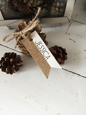 10 Christmas Wedding Glitter Place Card Name Cards Handmade And Personalised