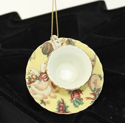 Miniature Cup and Saucer, Teacup Christmas Ornament  Victorian pattern
