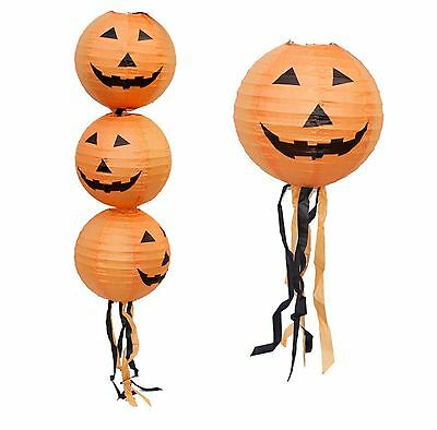 "Pumpkin Lantern 12"" Halloween Party Hanging Decoration Orange Scary Funny Black"