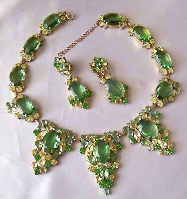 Exquisite Juliana Style Czech Green Yellow Rhinestone Glass Necklace & Ear Clips