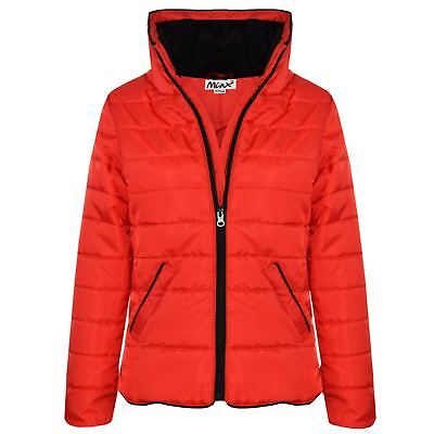 Girls Jacket Kids Red Padded Puffer Bubble Faux Fur Collar Warm Coats 5-13 Years