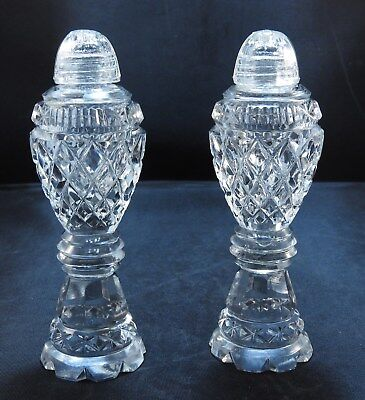 """Vintage CUT GLASS SALT & PEPPER SHAKERS with Glass Screw Tops 5"""""""