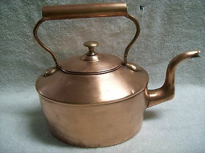 Antique Metalware Solid Copper Tin Lined Tea Kettle Pot 1800's