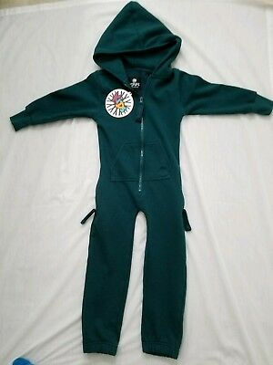 NWT kid's Zipups Brand Teal Hooded One Piece Zip Up Jumpsuit Size 6 7