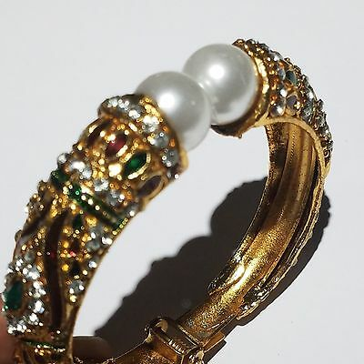 Victorian Style Gold plated rhinestones faux pearl Hinged bangle bracelet