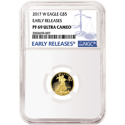 2017-W Proof $5 American Gold Eagle 1/10 oz NGC PF69UC Blue ER Label