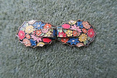 Vivid Antique or Vintage Enamelled Floral Belt or Shoe Buckle or Clothing Clip