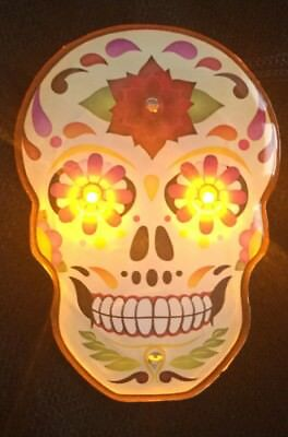 "Day Of The Dead Sugar Skull Blinking LED Light up Necklace 1.5""x2.25"""