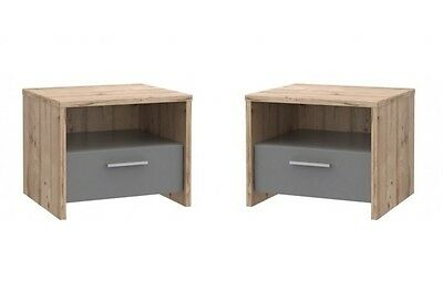Pair of Modern Bedside Table / Cabinet / Drawers / Nightstand / Unit OAK EFFECT