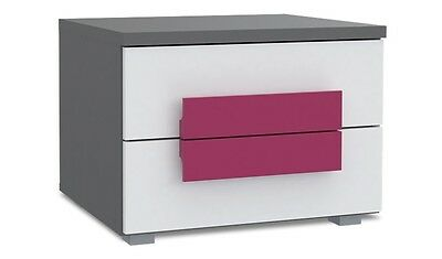 Modern Bedside Table / Cabinet / Drawers / Nightstand / Unit GREY & WHITE FRONTS