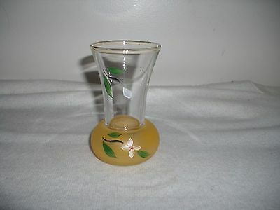 Glass Small Vintage Bud Vase Hand painted Floral 1940 Light Yellow Tint To Glass