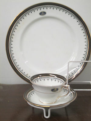 Aynsley Midnight fine English bone china 1-3pc. consisting 1-dinner, 1-cup,sauce