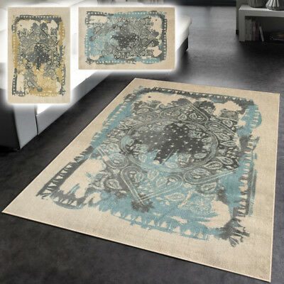 Rubber Backed Vintage Medallion Non Slip Contemporary Area Rug