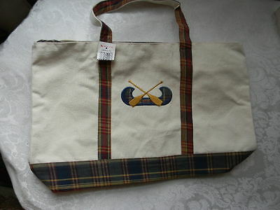 CANOE Tote Plaid Canvas School Book Grocery Bag Fun! Free Ship