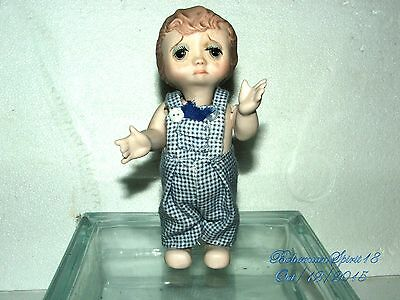 Antique Vintage Bisque Crying Kewpie Signed  Double Jointed Miniature Boy Doll