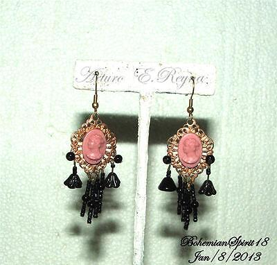 Vintage Deco Czech Cameo Jet Victorian Style Artisan Hanging Fringes Earrings