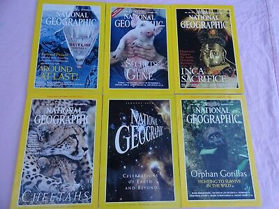 6x National Geographic Magazines - 1999 & 2000 - English monthly