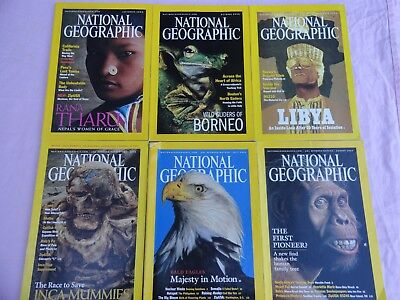 6x National Geographic Magazines - 2000 & 2002 - English monthly