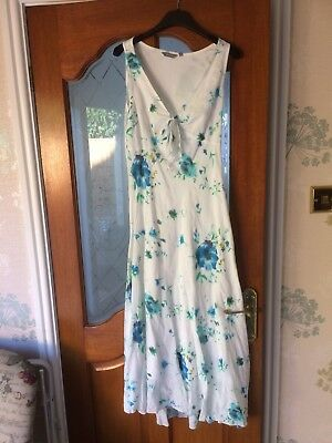 Women's Dress By Marks And Spencer In White/Blue In Size 8