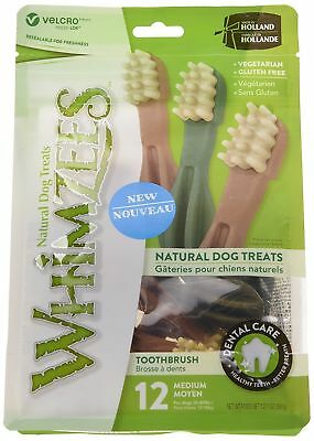 Whimzees Toothbrush Dog Chews Resealable Pack Size: Medium - 12 Natural Pieces