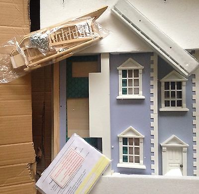 Georgian Style Dolls House Kit Blue Gift Collectors BNIB