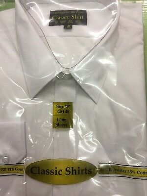 "Mens Long Sleeve  White Shirt Size 19.""collar"