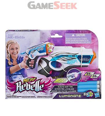 Nerf Rebelle Toy Lumanate Blaster With Glowing Darts - Toys Brand New