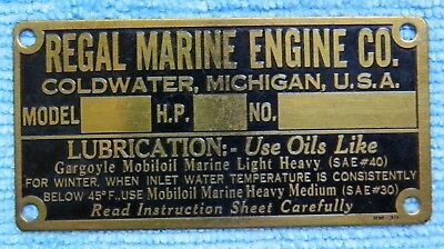 Rare Vintage Regal Marine Engine ID Tag, Un-Stamped, Use Gargoyl Mobiloil