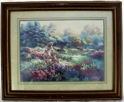 Lee K Parkinson Framed & Matted Picture Print Art Lady Picking Flowers 1990
