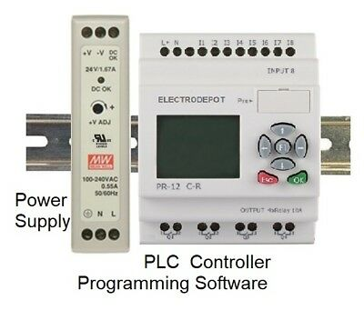PLC Programmable Logic Controller 8DC in 4 Relay, Software 24V DIN Power Supply