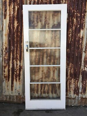 Vintage Solid Timber Door With Ribbed Glass 810w X 2030h X 40d