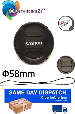 58mm Camera Lens Cap Cover Snap-on for Canon EF DSLR Lenses with Secure String