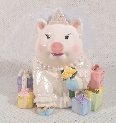 "~6 1/4"" Tall MUD PIE - Money / Coin - Pig Bride - "" Wedding Fund "" Piggy Bank"