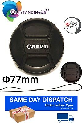 77mm Centre Pinch Lens Cap for Canon DSLR Lenses Fit  Filter with Secure String