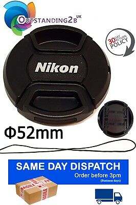 52 mm Front Lens Cap Center Snap on for Nikon D3200 D7000 D5200