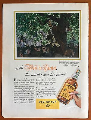 1937 OLD TAYLOR WHISKEY PRINT AD, Illustration of Thomas Paine, American Patriot