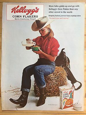 1965 KELLOGG'S CORN FLAKES Print Ad, Cowgirl eating cereal on bale of hay