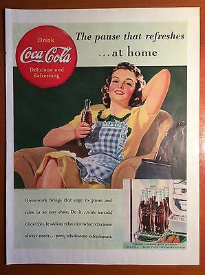 """1939 COCA COLA Print Ad - """"The pause that refreshes...at home"""""""